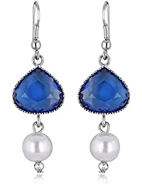 Spargz Blue Color Synthetics Stone With Pearl Rhodium Plating Dangle & Drop Hook Earrings For Women AIER 628