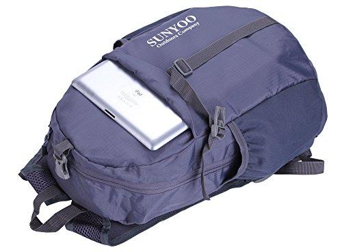 SUNYOO Faltbarer Rucksack 20L 35L Wasserdichter Leichter Wandern Rucksack Daypack Schwarz