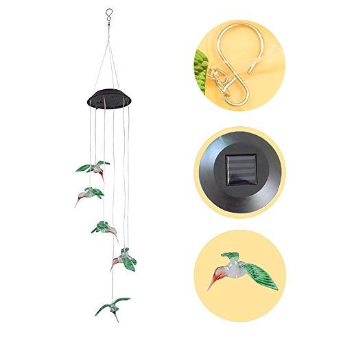 TianranRT Farbe Ändern LED Solar Wind Glockenspiel Kolibri Wind für Gartenarbeit Beleuchtung