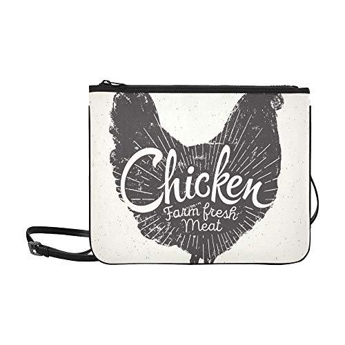 houette Chicken Inschrift Benutzerdefinierte hochwertige Nylon Slim Clutch Bag Cross-Body Bag Umhängetasche ()