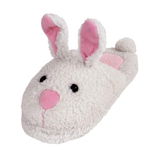 BunnySlippers Klassische Hasen Hausschuhe (Large, Weiß)