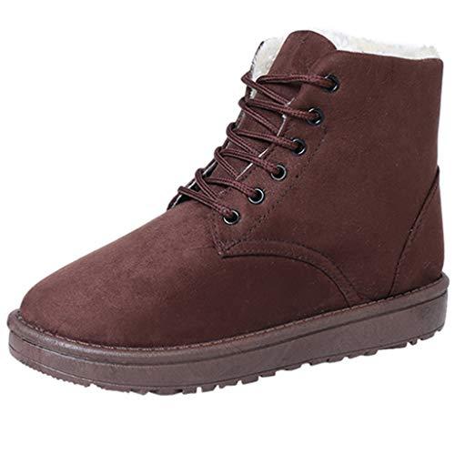 Cardith Winter Damen Flache SchneeschuheSchnürschuh Keep Warm Platform Martin-Schuh mit runder Spitze Worker Boots