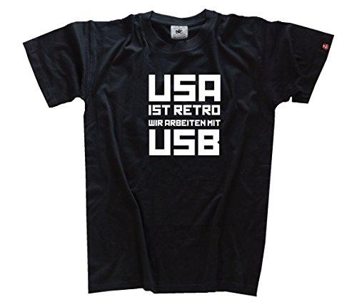 USA ist Retro - Wir arbeiten mit USB T-Shirt Schwarz L