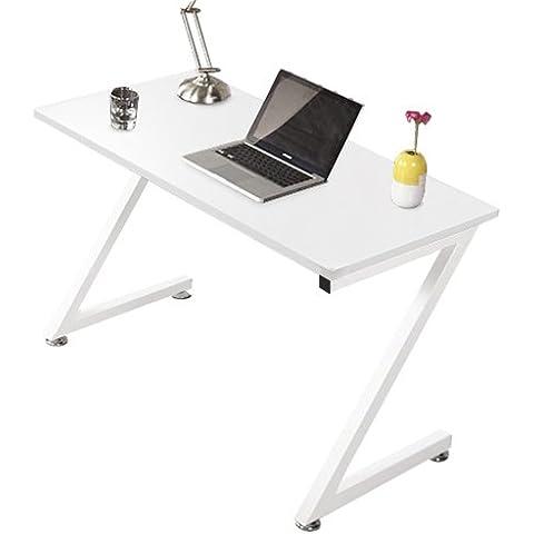 Kendan Zagan Blanco - Compacto en Forma de Z Escritorio de esquina, para casa u oficina, y soporte para torre de ordenador de la horquilla de estación de trabajo