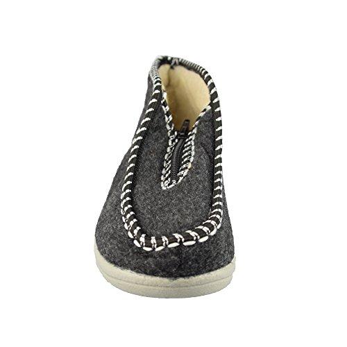 BTS–calde pantofole da donna con rivestimento interno in lana di pecora–colore: grigio, gr. 36–42 Grau