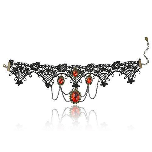 Trifycore colgante fresco hueco collar gótico retroPulsera de lujo de la joyería ajustable a dar a las niñas de la Mujer 4 cristal rojo