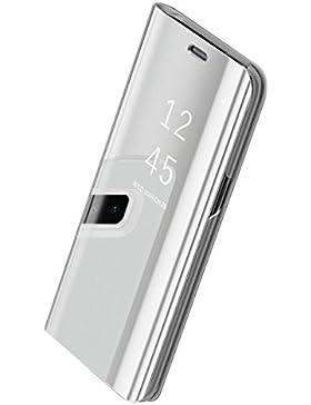 Funda Samsung Galaxy S8 Inteligente Flip Cover Carcasa Hora Clear View Soporte Plegable Espejo Reflexión Brillante...