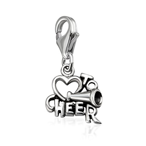 925 Sterling Silber I love to Cheer Clip auf Charm Anhänger