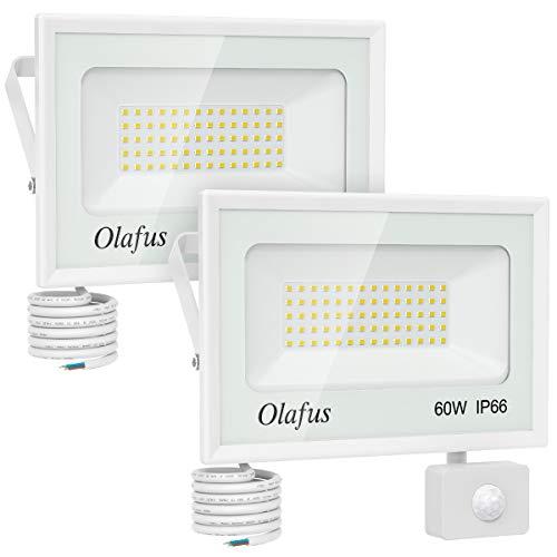 Olafus 2 Pezzi 60W Faretto LED Sensore di Movimento 6600lm 5000K Luce Bianca Fredda Proiettore LED IP66 Impermeabile Distanza di Sensore 6m-12m Illumina 10s-180s per Corridoio Giardino Garage