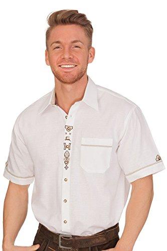 Trachten Herren Hemd mit 1/2 Arm - Lenz - weiß, Größe 51/52 (5XL)
