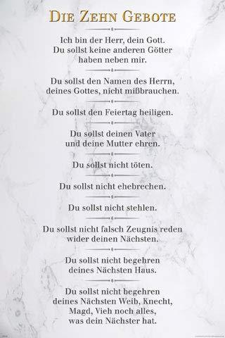 empireposter Die 10 Gebote - Weiß - Inspirations Poster Druck - Größe cm
