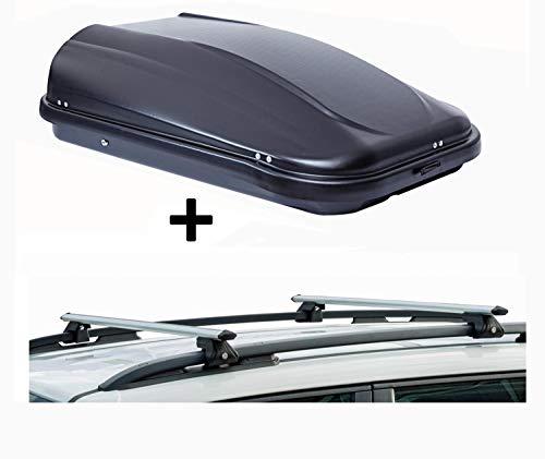 VDP Dachbox JUPRE320 320Ltr schwarz glänzend abschließbar + Dachträger CRV120 kompatibel mit Dacia Duster (5 Türer) 2010-2013