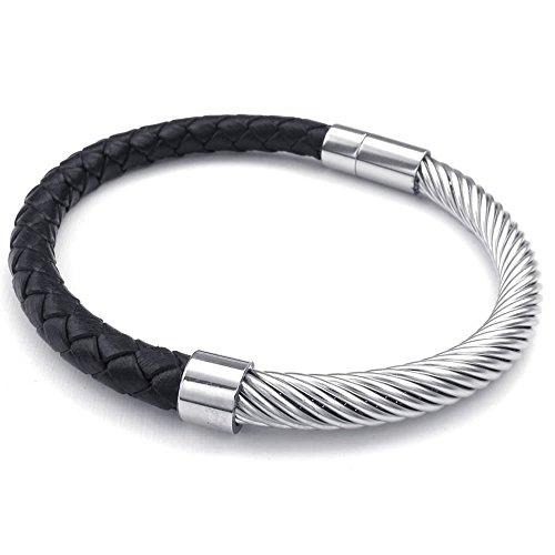 40e50ad2be91d KONOV Bijoux Bracelet Homme - Classique Manchette - Cuir - Acier Inoxydable  - Fantaisie - pour