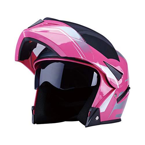 ZXW Casque- Batterie Casque Moto Visage Hommes Et Femmes Quatre Saisons Universel Anti-brouillard Double Lentille Casque (Couleur : Pink-32x26x26cm)