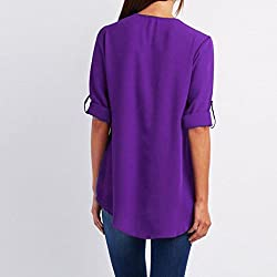 Kanpola Fashion Womens Casual Tops T-Shirt Ladies Solid Color Loose Zipper Long Sleeve Blouse 7 Colours