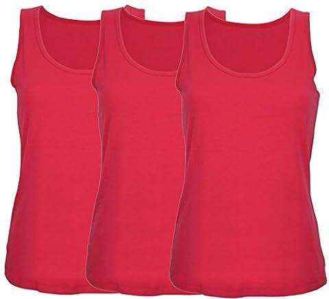 Ex Store Ladies Value Pack Cotton Vest Style T-Shirt Tops 3 Pack Pink Medium