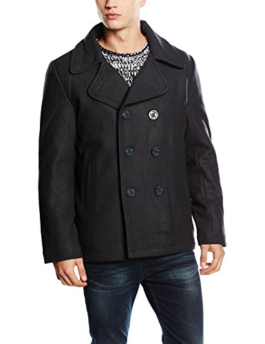 BW-ONLINE-SHOP Navy Pea Coat Wintermantel Jacke, Gr. L, schwarz