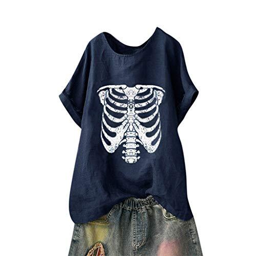 Andouy Damen Mode Lustige Muster Tees Beiläufige Feste Gedruckte Lose Flügelhülsen Gr.40-54 Übergroße T-Shirt Tops(L(44).Marine-Skelett) - Cap Sleeve Shrug