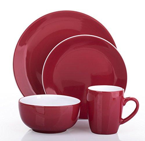 16pezzi Set di piatti in 2tonalità Heritage rosso e bianco
