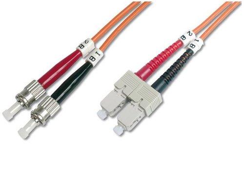 DIGITUS LWL Patchkabel ST/SC 50/125µm 1m Multimode Duplex Halogenfrei  mit Messprotokoll orange OM2