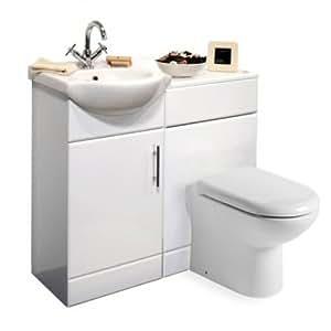 blanc laqu 450 mm trueshopping meuble lavabo avec lavabo monotrou et wc mural set. Black Bedroom Furniture Sets. Home Design Ideas