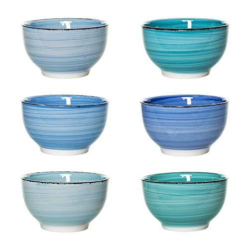 esto24 Design 6er Set Müslischalen Dessertschale 750ml Porzellan in tollen Farben - Das Highlight auf jedem Tisch (Schale Blau Töne)
