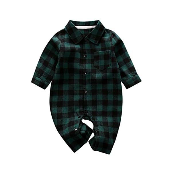 Greenwind Mameluco del bebéBebé recién Nacido Bebé Niños Niñas Plaid Jumpsuit Romper Ropa de otoño e Invierno 1