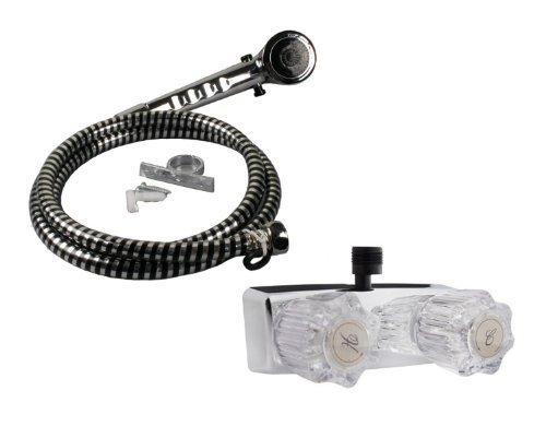 Wohnmobil-/Mobile Home 4in. Dusche Wasserhahn Chrom mit klarem Griffe & inkl. Handbrause von wholesaleplumbing Mobile Home Rv Marine