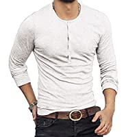 F.Honey Men's Casual Slim Fit Short Sleeve Henley T-Shirts Cotton Shirts (US-S, MBL006-White)