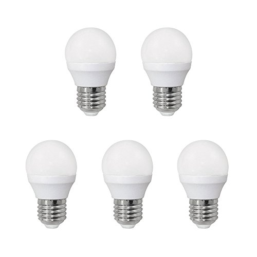 Pack 5 x Bombilla LED esférica 6W (equivalente a 40W) Luz calida (3000K) no dimmable. E27. 470 Lm. 25000 horas de vida. Encendido ultrarrapido (encendido al 100 % en 0,5 sg).