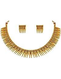JFL - Traditional Ethnic One Gram Gold Plated Sharp Spike Neckalce Set For Women