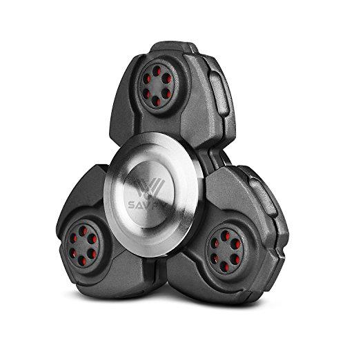 Fidget Spinner, SAVFY Hand Spinner Fidget Juguetes para EDC, ADD, ADHD, Autismo Tri Fidget dedo de mano Spinner Teniendo Cerámica Gira hasta 3-6 minutos para Niños y Adultos, Negro