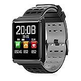 P12cheng Fitness-Smartwatch, Fitness-Aktivitätstracker,Wasserdichter N98 Smart Watch Sauerstoffdruck-Aktivitäts-Tracker mit Touchscreen Black & Grey Leather