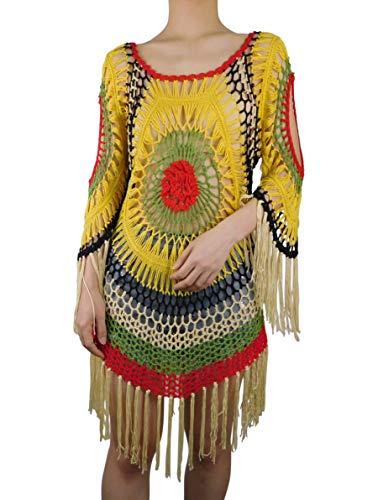 Marpressel Damen Bunt Handgehäkelter Strand Bikini Badeanzug Cover Ups Kleid - Mehrfarbig - Small/Medium (Badeanzug Cover Ups Für Frauen)