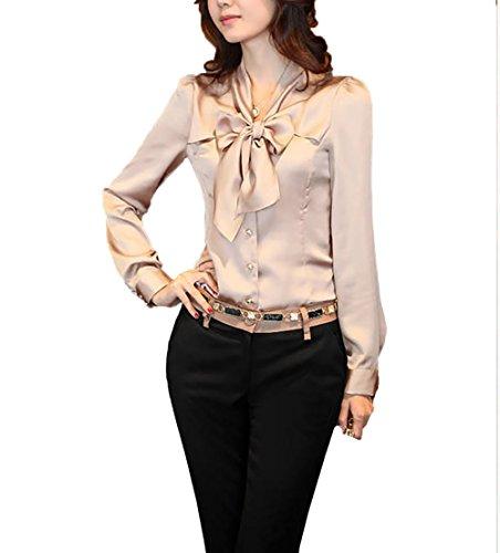 Youmu - camicetta con fiocco in raso con scollo a v - camicia con bottoni - camicetta da lavoro formale - top