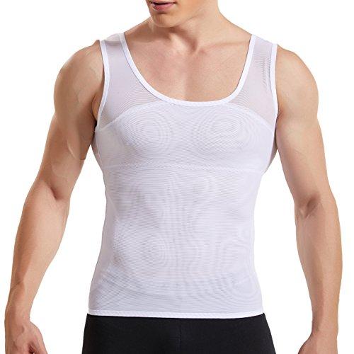 HANERDUN Kompressionsunterwäsche Tank Top Herren | Bauchweg Body Shaper Figurformendes Unterhemd für Männer | Sport Fitness Bodyshaper, Weiß, L