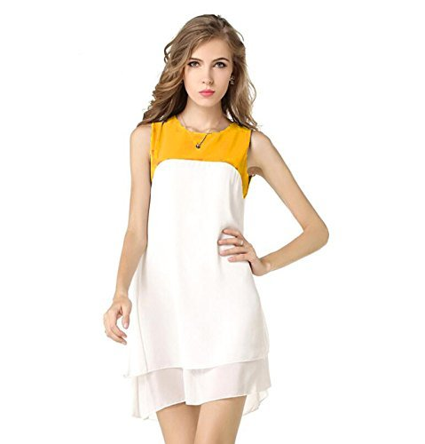 Binny Creation Women's Georgette White Yellow Western Tunic (Dress) (Cream Yellow Top_BC)  available at amazon for Rs.299