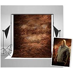 WaW Toile de Fond Studio Photo Marron Sombre Texture Tissu Décor pour Photographie Vintage 1.5x2.2m