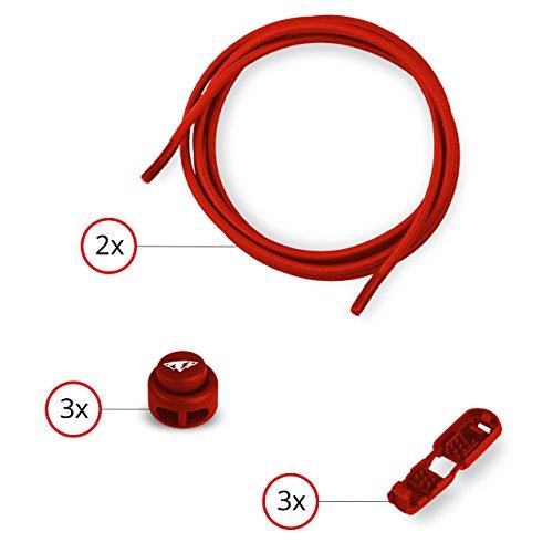 Lumaland lacci per scarpe elastici e autobloccanti ca. 110 cm, mx style rossi