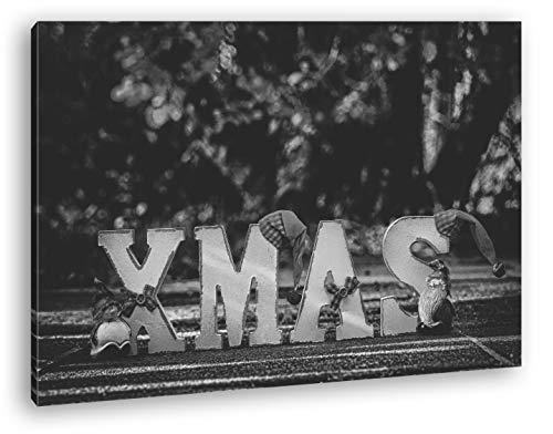 deyoli Weihnachtliche Grüße Format: 80x60 Effekt: Zeichnung als Leinwand, Motiv fertig gerahmt auf Echtholzrahmen, Hochwertiger Digitaldruck mit Rahmen, Kein Poster oder Plakat