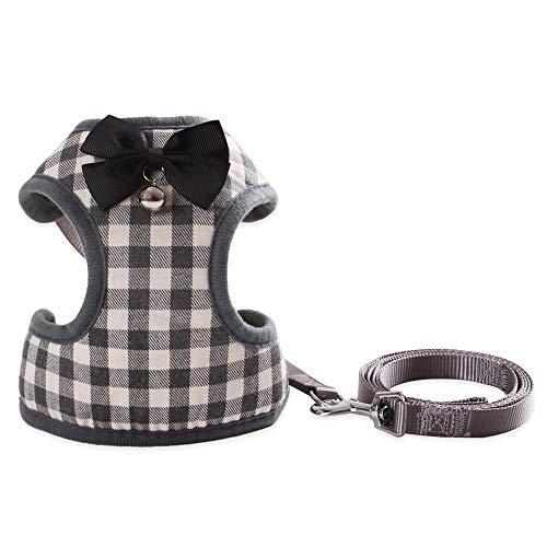 Hund Katzengeschirr Halfter Blei Schwarz Bogen Glocke Design Atmungsaktives Netzgewebe Geschirre für Hunde Haustier Puppy Supplies,B,S