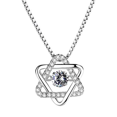 te S925 Silber Einfache großzügige Schlüsselbein Halskette Anhänger Intarsien Zirkonium Bohrer Geschenk Schmuck für Mädchen ()