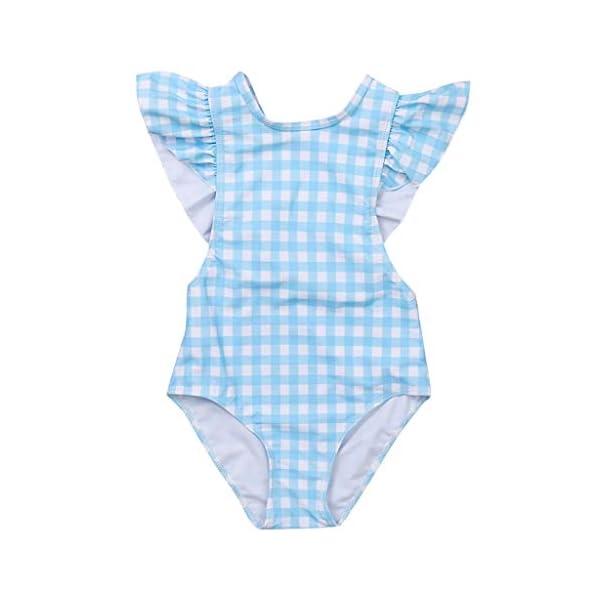 Heetey Bañador para niña, niño y niña, diseño de Rayas y Flores, una Sola Pieza, Traje de baño de Rayas 1