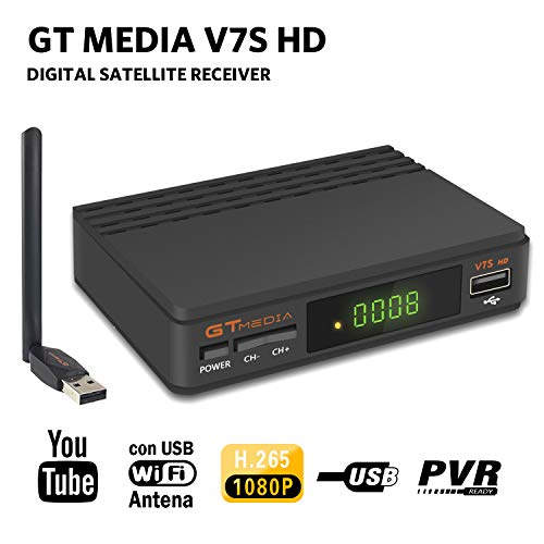 GTMEDIA V7S HD DVB-S2 Digital Receptor de TV por satélite Decodificador Freesat V7 HD Mejora con USB WiFi Antena FTA 1080P Full HD Soporte PVR, Cccam, Newcam, Youtube, PowerVu, Dre y Biss Clave