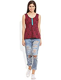 Samarth Fab Women's Cotton Printed Short Top Size:- 42 / Xxxl (Maroon)