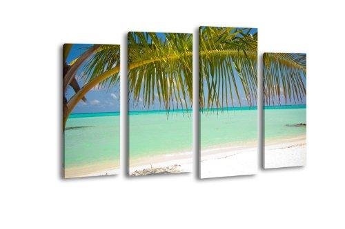 Leinwandbild Sandstrand LW361 Wandbild, Bild auf Leinwand, 4 Teile, 180x100cm, Kunstdruck Canvas, XXL Bilder, Keilrahmenbild, fertig aufgespannt, Bild, Holzrahmen, Südsee, Palmen, Meer,