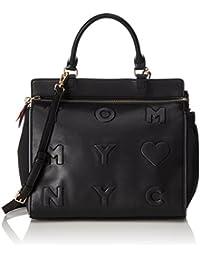 Tommy Hilfiger - Logo Story Satchel, Bolsos maletín Mujer, Schwarz (Black), 14x28x31 cm (W x H D)