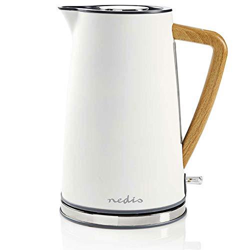 TronicXL Design Wasserkocher Holz Griff 1,7 l Soft-Touch Antikalk-Filter Wasser Erhitzer (Weiß)