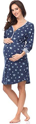 Italian fashion if camicia da notte premaman c492t 0111 (blu scuro/bianco, l)