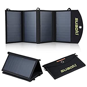 Suaoki Ultra Léger Chargeur Panneau Solaire 25W/ 5V 4A Pliable Haute efficacité Double Port Recharger avec Technologie TIR-C pour Smartphone Pad iPhone 6s 6 6plus 5s 5 Samsung Galaxy S5 S4 Note 4 Note 3 HTC Sony etc